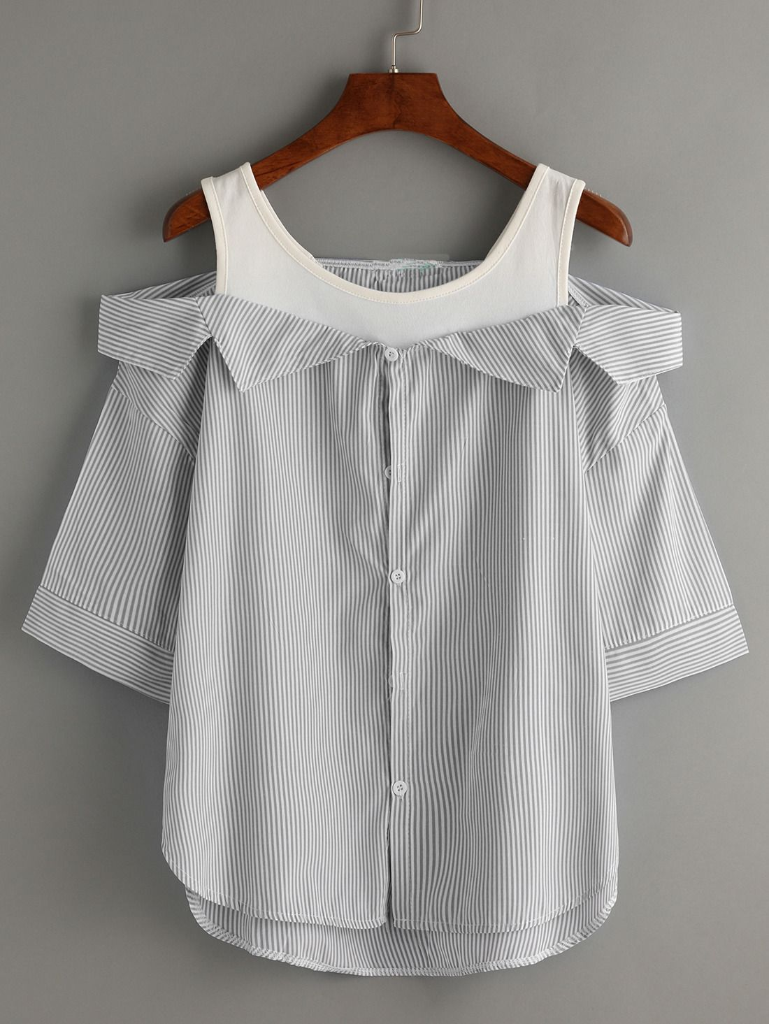 Grey Striped Fold Over Cold Shoulder Blouse D I Y C L O T H E S