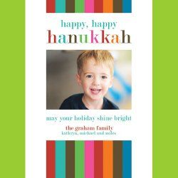 colorful hanukkah photo card