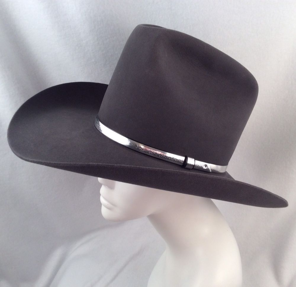 RESISTOL SELF-CONFORMING COWBOY HAT QUICKSILVER 4X BEAVER GRANITE Gray 7  w BOX  5fd66d56c22