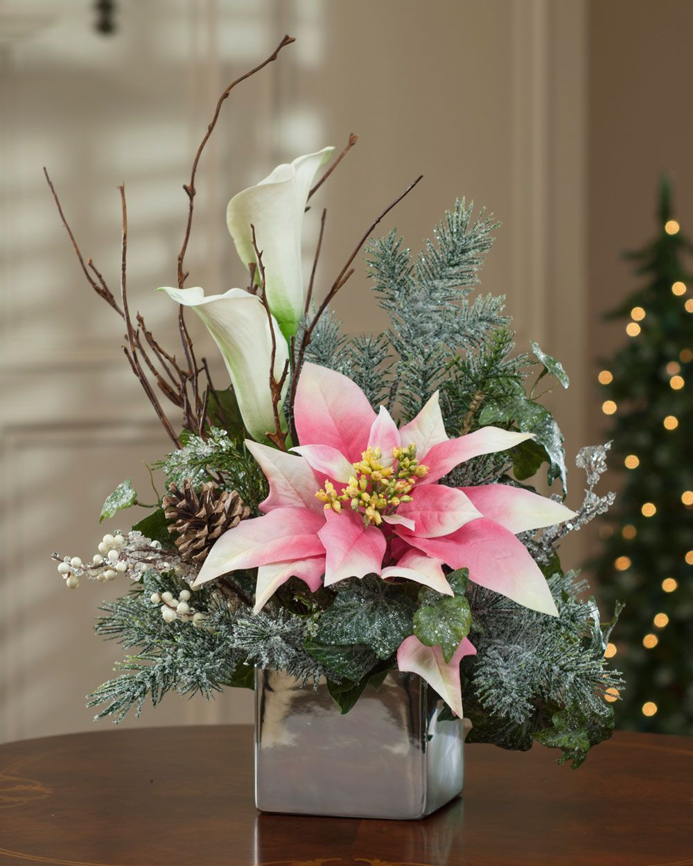Poinsettia Calla Lily Silk Flower Arrangement Christmas Flower Arrangements Christmas Floral Arrangements Christmas Arrangements