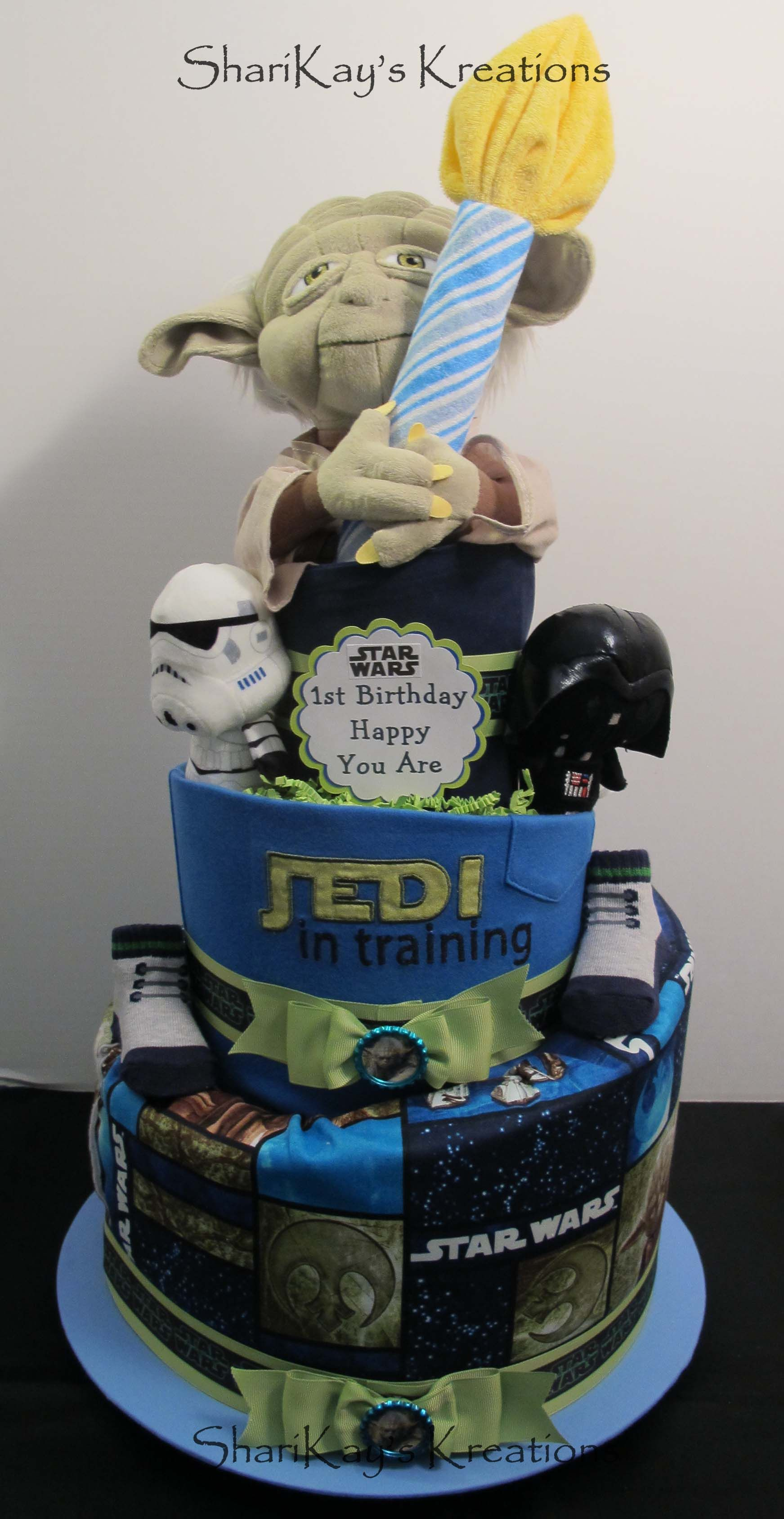 Custom order Topsy Turvy Star Wars First Birthday diaper cake by