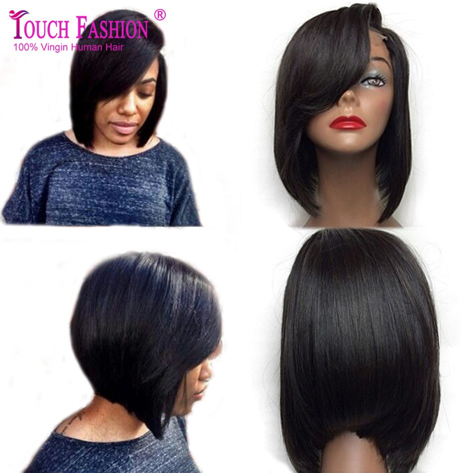 Layered Human Hair Short Bob Wigs For Black Women Glueless Lace Front Wig
