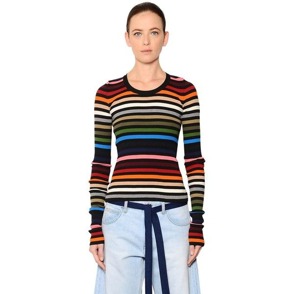Sonia Rykiel Women Striped Cotton Blend Rib Knit Sweater ($495) ❤ liked on Polyvore featuring tops, sweaters, multicolor, stripe top, ribbed knit top, multi color sweater, striped sweater and colorful sweaters