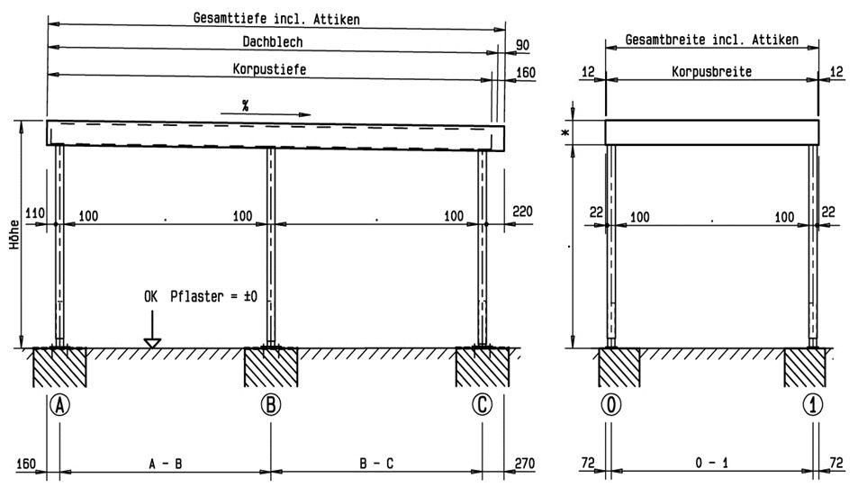 Siebau Carport 2 58 M Breit In Modularer Bauweise Carport Flachdach Einzelcarport