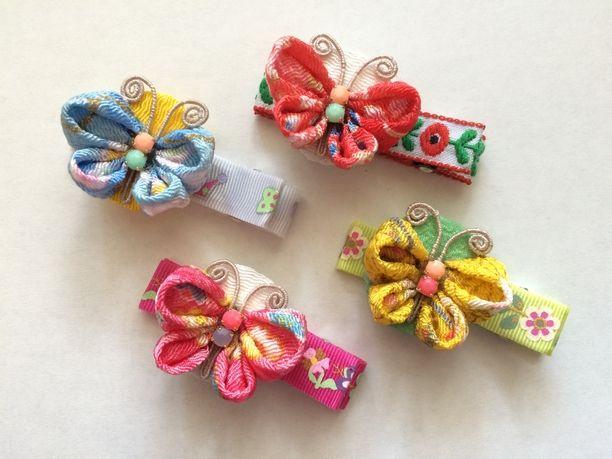 ベビーヘアクリップ 和柄 蝶々 つまみ細工 リボン刺繍の基本