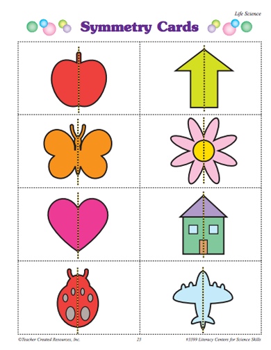 Here\'s a simple set of cards showing line symmetry. | Symmetry ...