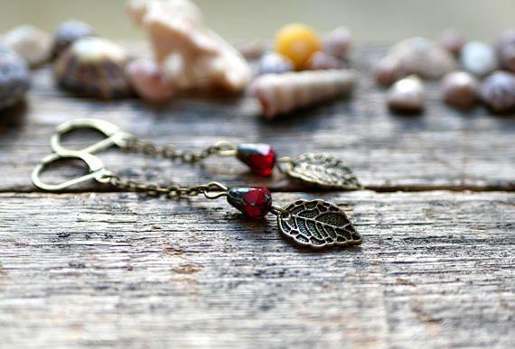 CZECH GLASS ~ Feuille Perles ~ feuilles ~ Amber