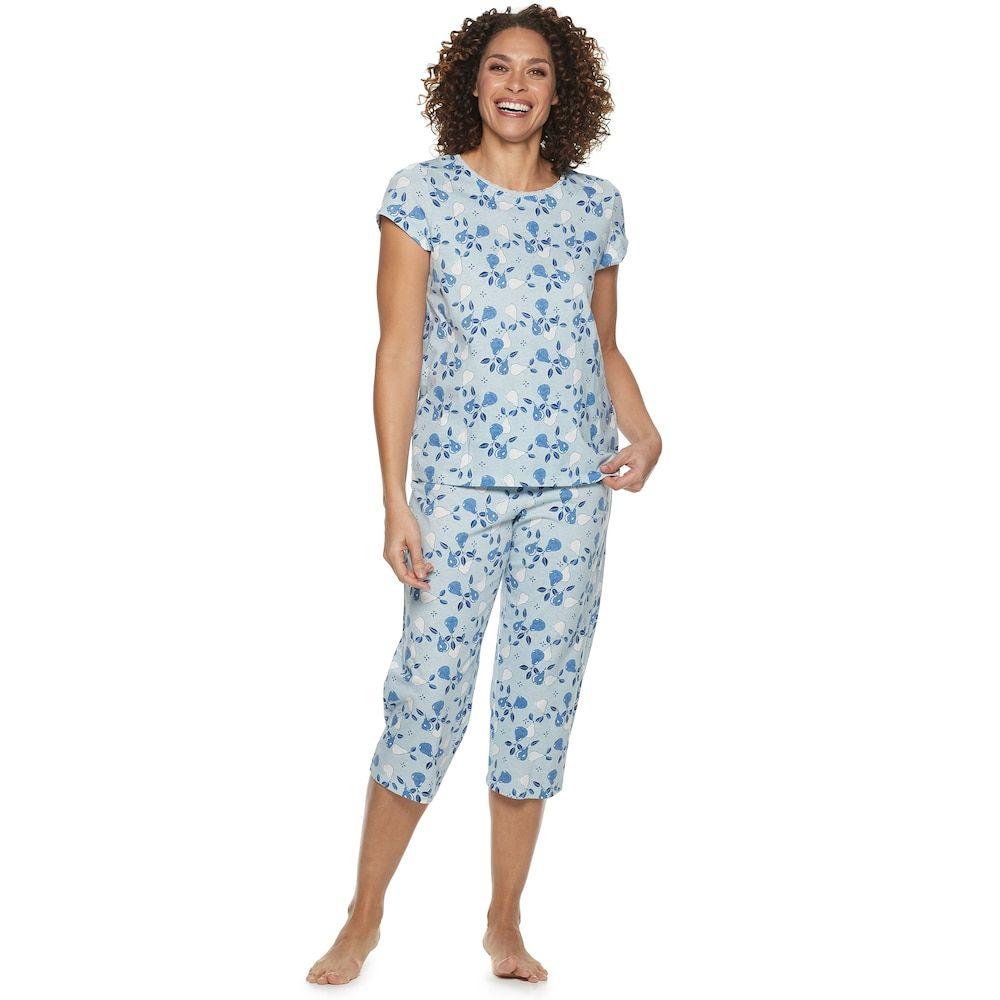 2ac152ab5ca3f petiteWomen's Croft & Barrow Lace Trim Knit Capri Set, Size: Medium Petite,  Blue