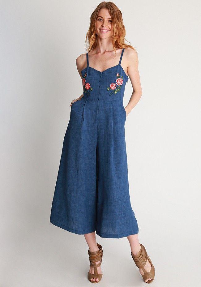 0f0f1679ff Denise Floral Embroidered Denim Jumpsuit