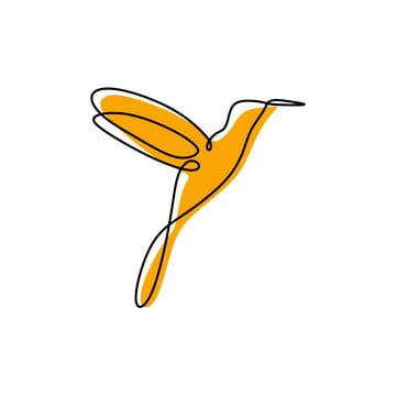 Continuous One Line Drawing Hummingbird Vector Illustration, Illustration, Drawing, Vector PNG and Vector with Transparent Background for Free Download
