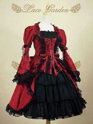 Medieval Gothic Lolita Ruffle Palace Blouse Womens Red Black Long Sleeve Shirt