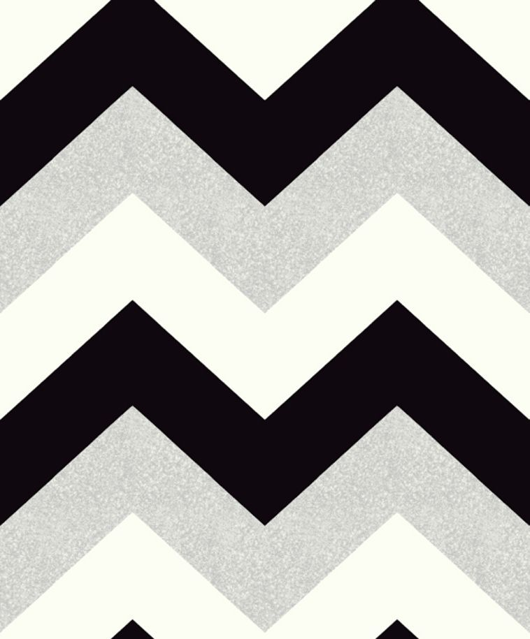 Glitterati Chevron by Arthouse - Black / Platinum ...