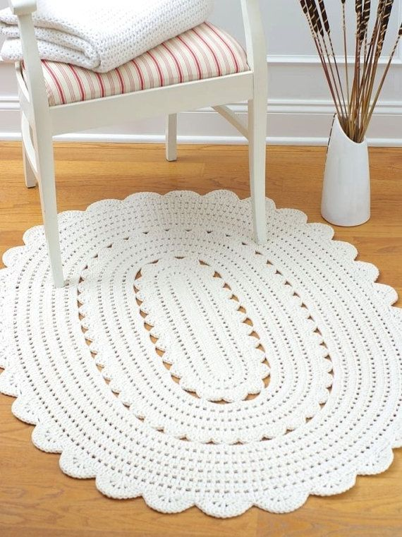 Oval Crochet Doily Rug Alicia Off White Oval 50 By Hennasboutique