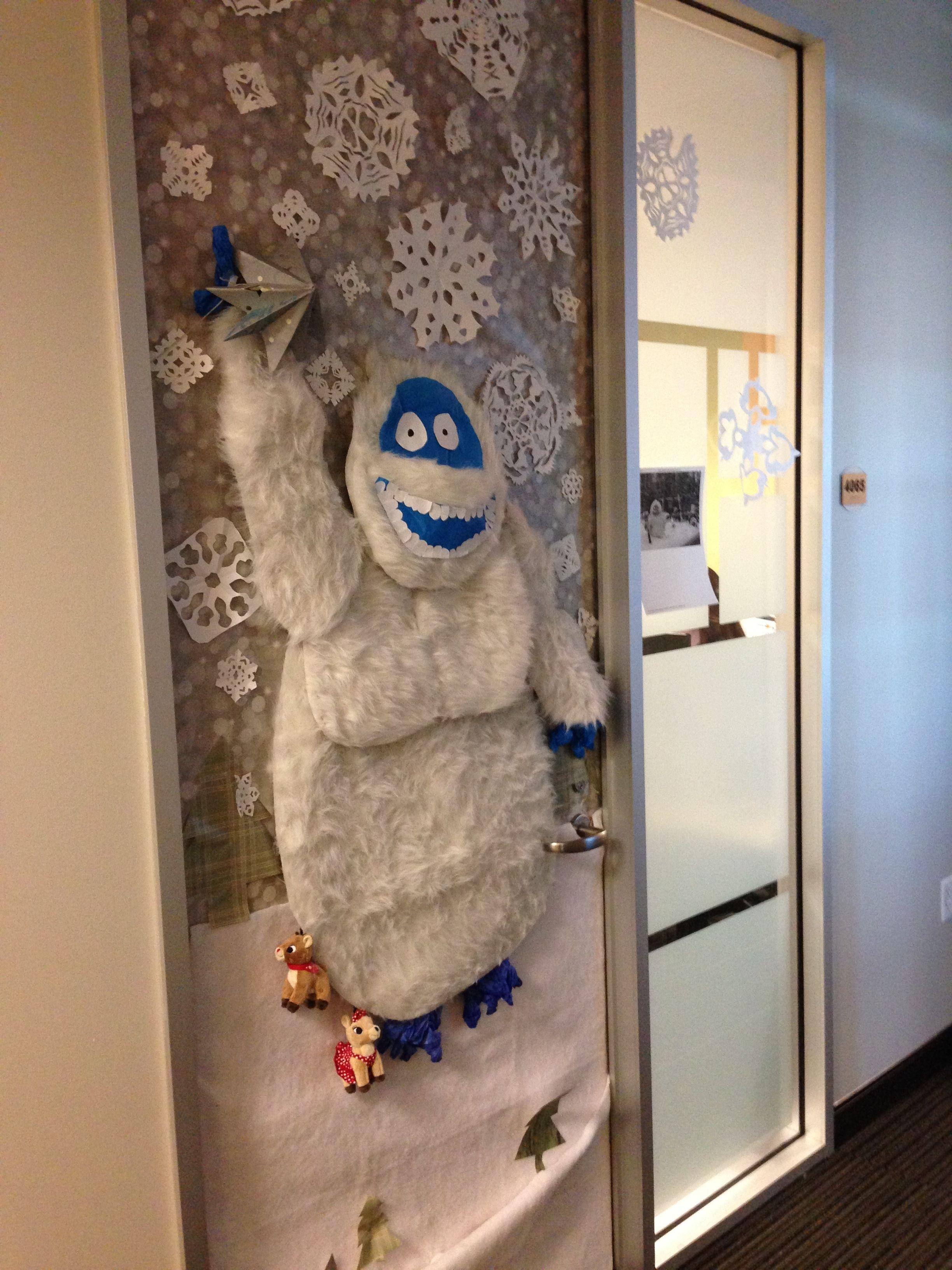 Abominable Snowman Complete With Reindeer Under His Feet Holidaydecoratio Door Decorating Contest Holiday Door Decorations Christmas Door Decorating Contest