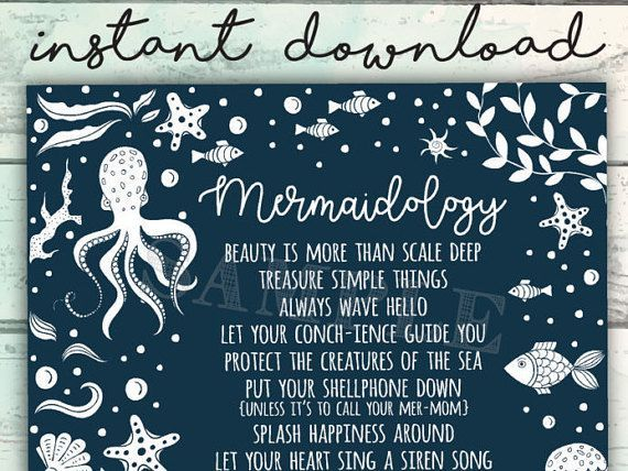 Mermaid Sign, Mermaidology, Rules for Being a Mermaid, Mermaid Art, Advice from a Mermaid, Mermaid Printable, Cute Mermaid Sign #mermaidsign Mermaid Sign Mermaid Advice Printable Mermaidology by MollyandBeau #mermaidsign