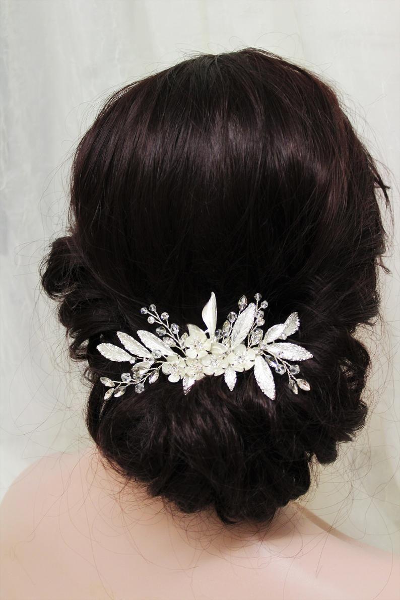 silver wedding hair piece bridal back headpiece crystal