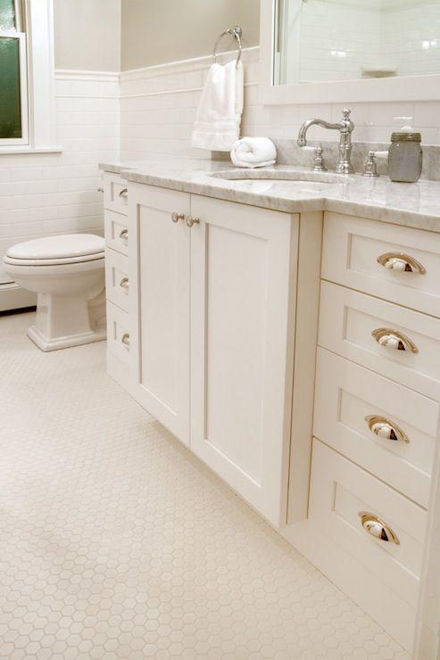 Bathroom Vanity Pulls white vanity with cup pulls, carrera marble counters, hex floor