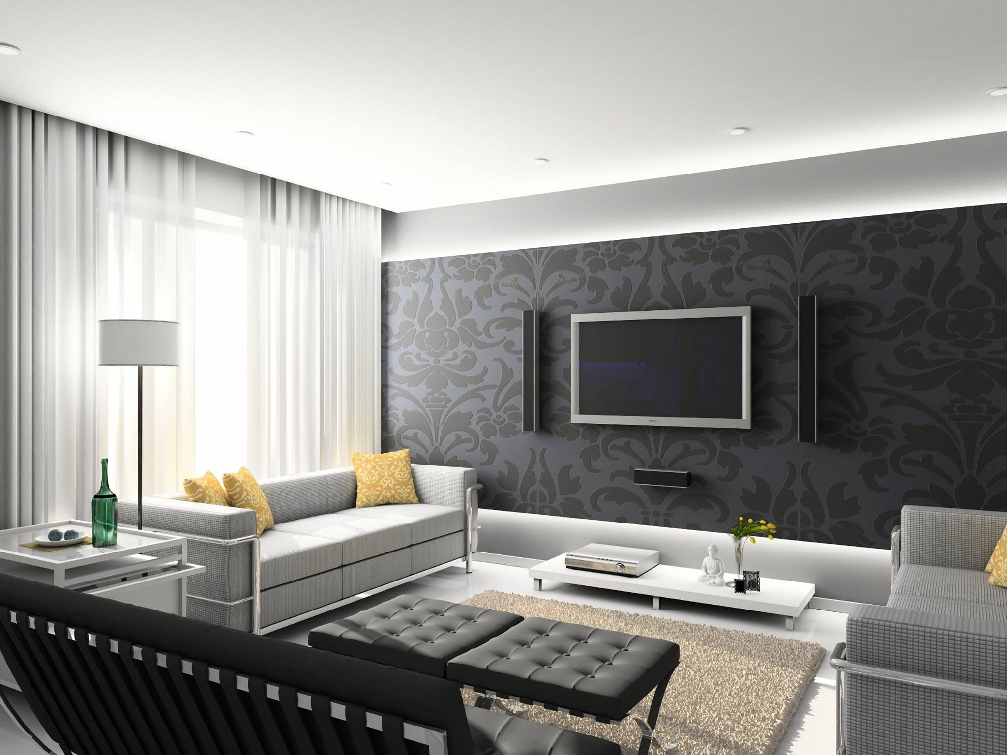 Minimalist interior decor for modern living room design ideas with elegant  grey plush seat sofa including fortable assotred throw.