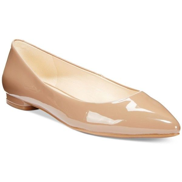 Nine West Onlee Pointed-Toe Flats ($69) ❤ liked on Polyvore featuring shoes, flats, natural patent, flat pumps, flat patent leather shoes, flat pointy toe shoes, patent flat shoes and patent leather pointed toe flats