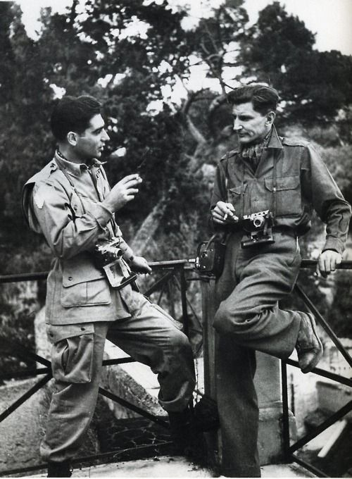 WWII Robert Capa and George Rodger, in Sicily, a few months before landing in Normandy.