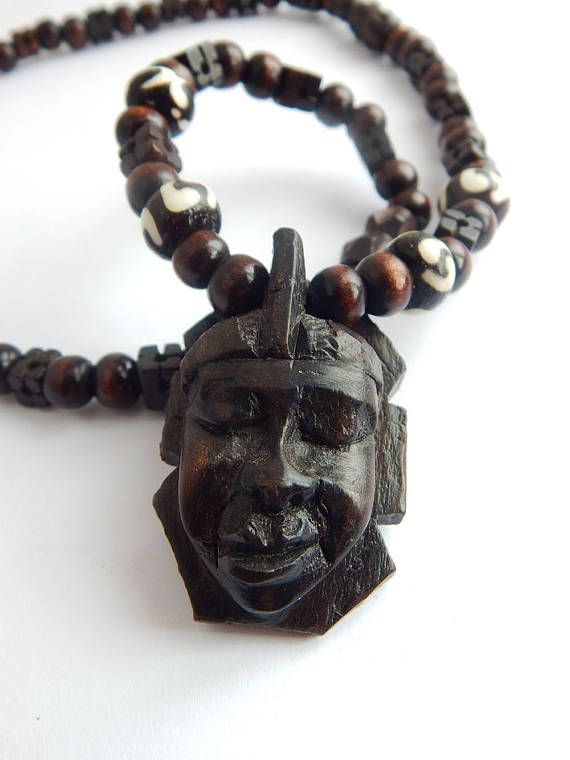 African mask necklace wood hand carved handmade africa jewelry men african mask necklace wood hand carved handmade africa jewelry men beaded tribal ethnic afrocentric wooden pendant aloadofball Choice Image