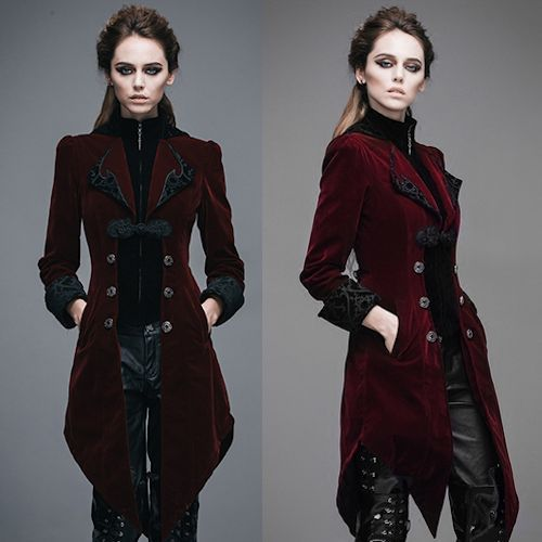 Burgundy Velvet Victorian Gothic Fashion Dress Trench Coat Women Sku