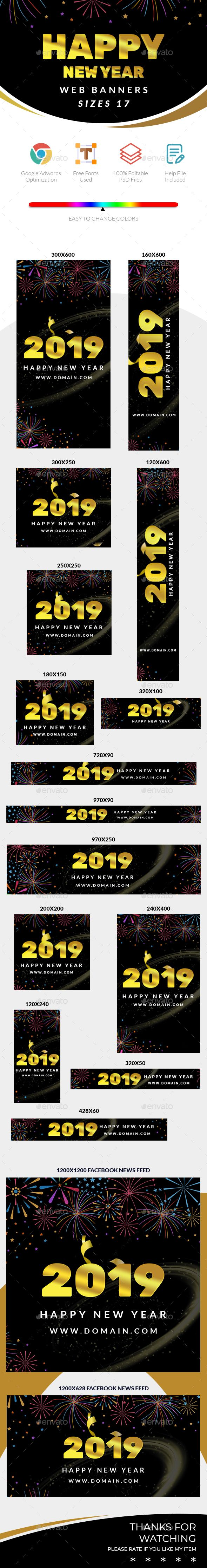 2019 happy new year web banners banners ads web elements