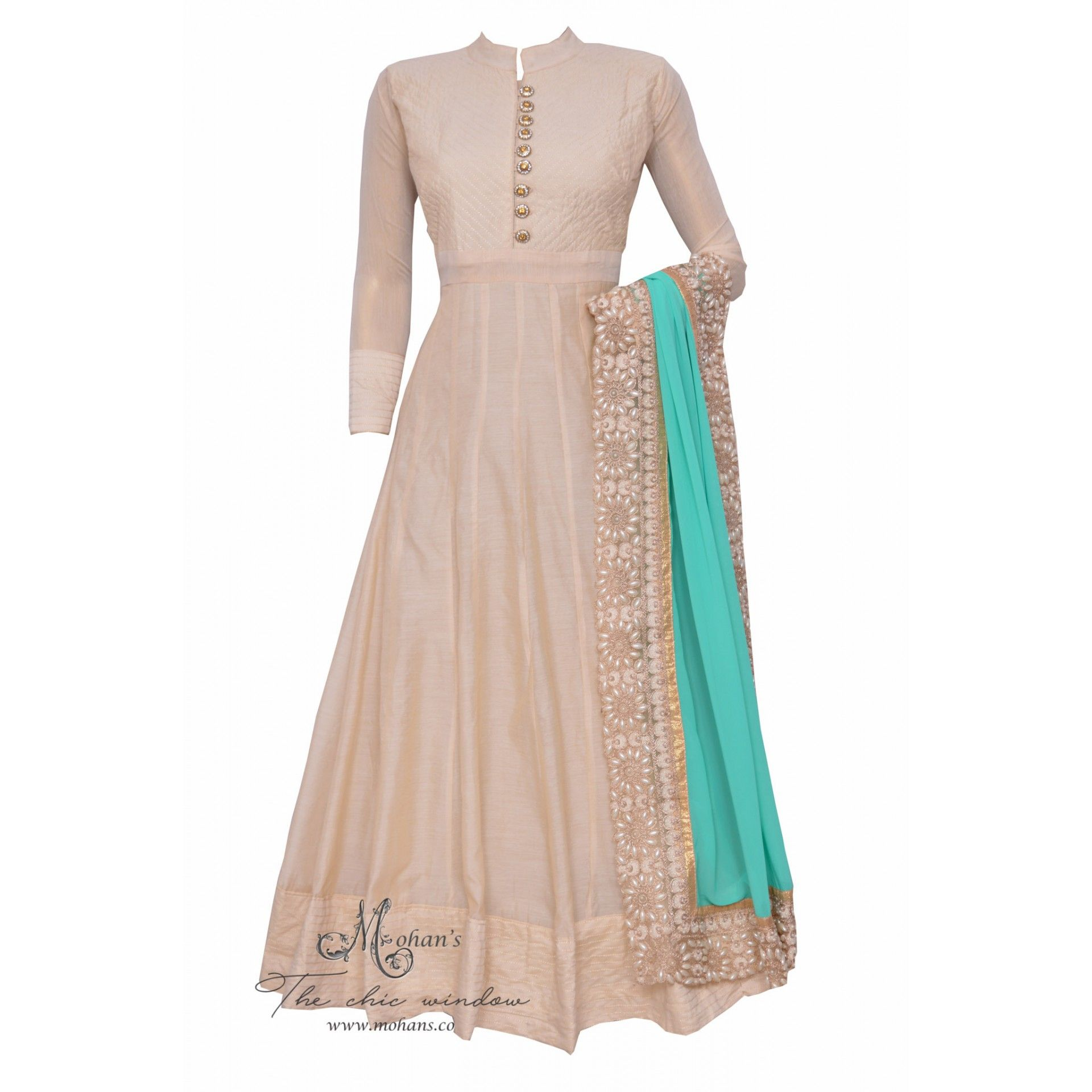 Serene off white anarkali complemented with aqua dupatta featuring in pearl work on borders-Mohan's the chic window