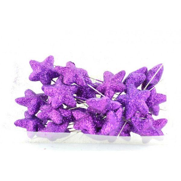Varie - Spilli con Stellina Glitter Viola pz 24 - un prodotto unico di raffasupplies su DaWanda