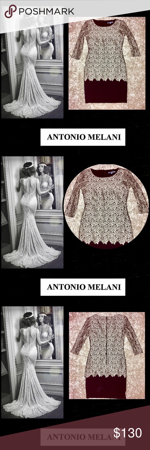 """🆕Antonio Melani🌹Silver Lace 🌹Sheath Dress🌹 Elegant and Sexy🌹Antonio Melani🌹Silver lace fabrication sheath silhouette🌹sleeves are cut out🌹silver lace has high sheen gently overlaying black🌹back slit🌹bust 14"""" armpit to armpit🌹34"""" Length🌹21"""" hidden zipper🌹fully lined🌹sz 0 ANTONIO MELANI Dresses Midi"""
