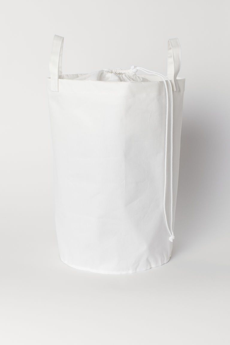 Cotton Twill Laundry Bag Laundry Basket With Lid White Storage