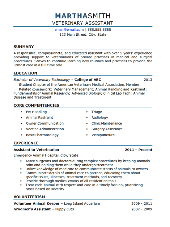 example cv veterinarian