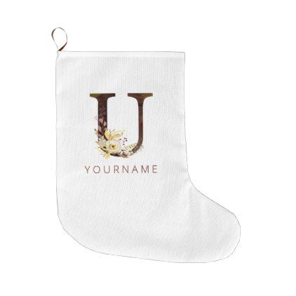 Floral Monogram U Rich Autumn Foliage Large Christmas Stocking | Zazzle.com #autumnfoliage