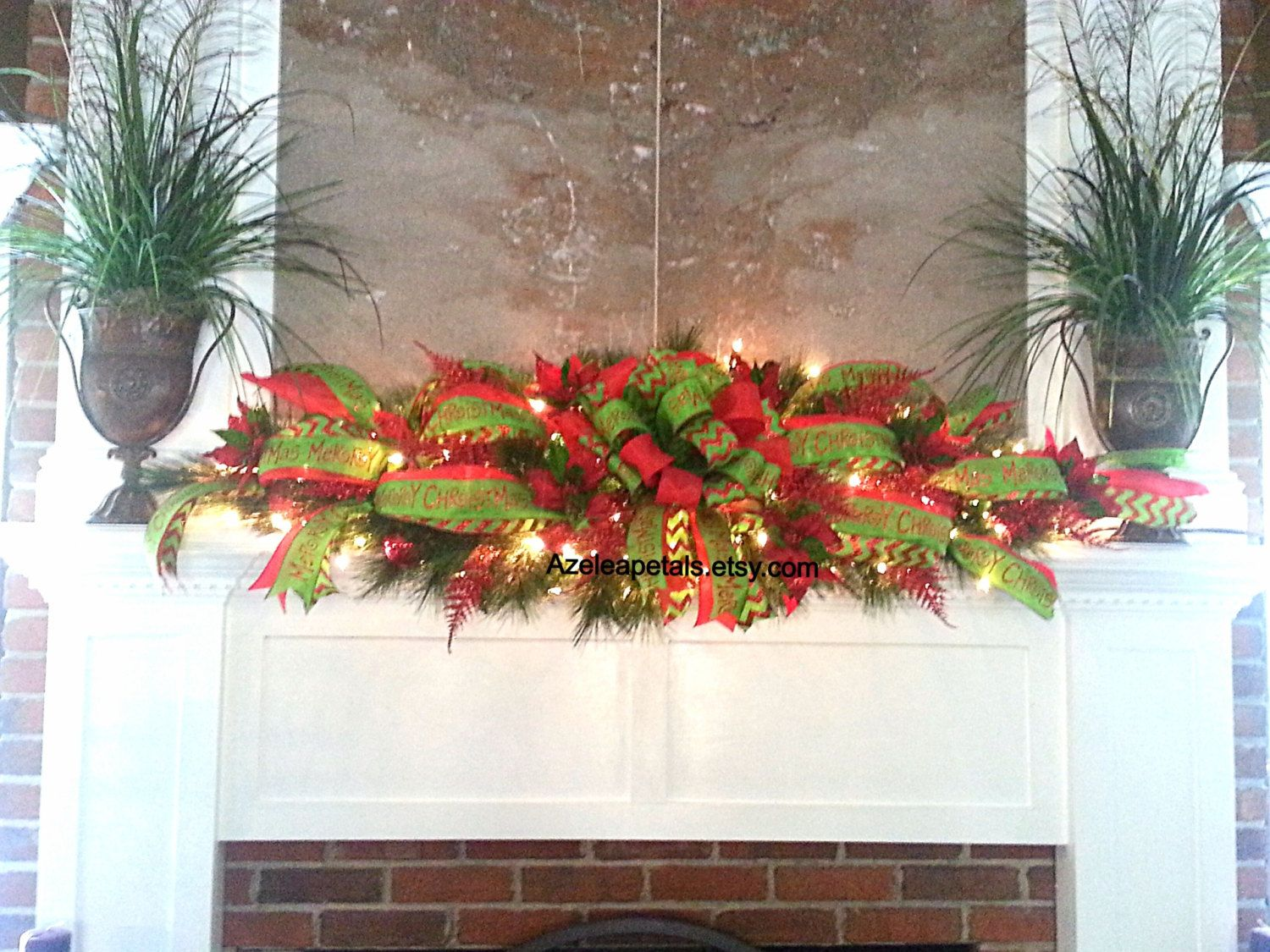 Xxl garland swag christmas fireplace mantle by for Christmas garland on fireplace