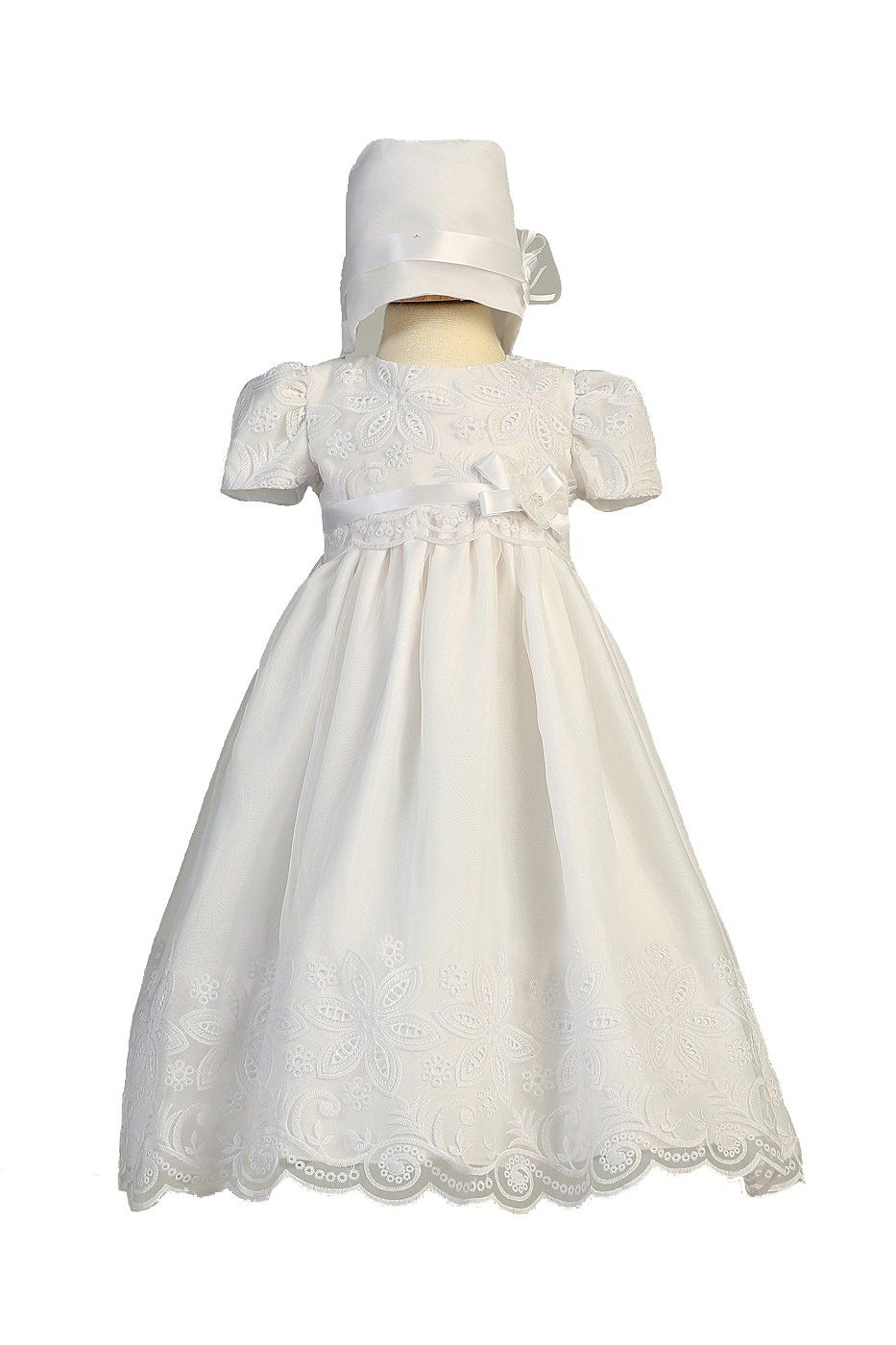 d99822cc2d Long White Classy Embroidered Organza Baby Girl Christening Baptism Special  Occasion Newborn Dress Gown with Matching Hat - XS (0-3 Month