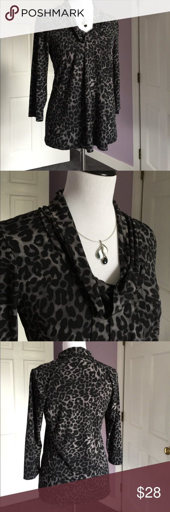 Lovely Chaus Knit Animal Print Top Animal print with drapey cowl-like collar, pleated at chest, skims your curves.  3/4 sleeves. Black and gray, size small. Fabric content in photos. Very good condition. Thanks for looking! Chaus Tops Blouses