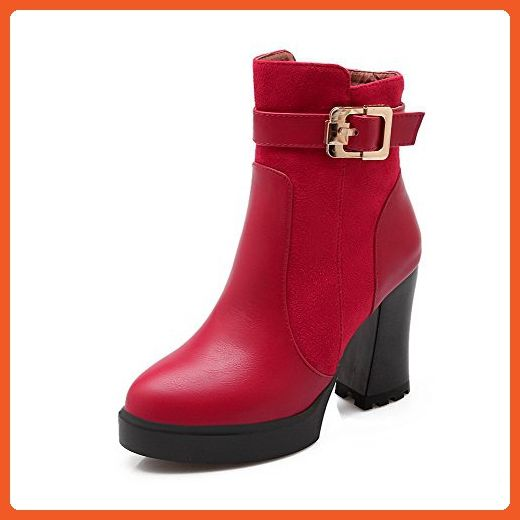 Women's High-Heels Round Closed Toe Imitated Suede Low-Top Solid Zipper Boots Red-Frosted 39