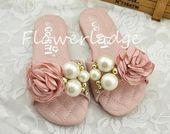 Soft Pink Girls Shoes Light Pink Floral Flip Flops for Toddler Girls ivory gold  Soft Pink Girls Shoes Light Pink Floral Flip Flops for Toddler Girls ivory gold
