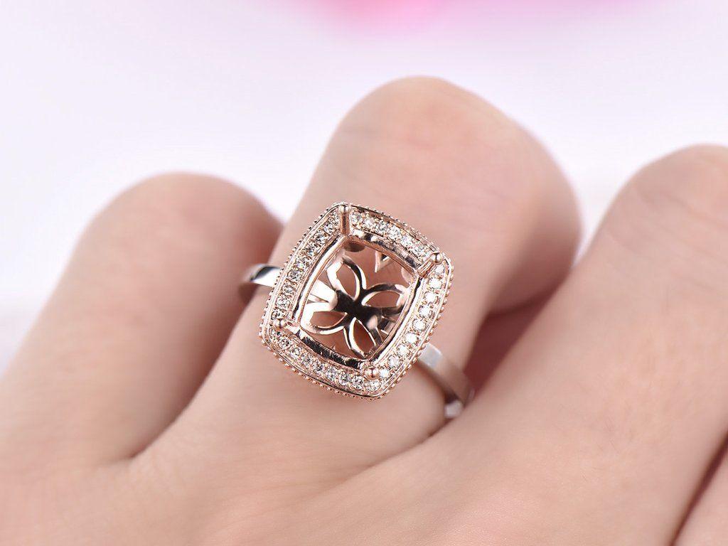 Diamond Engagement Semi Mount Ring 14K Rose Gold Cushion 9x11mm ...