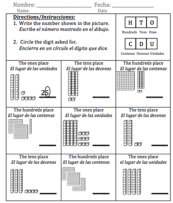 Bilingual SpanishEnglish Place Value Worksheet El Valor