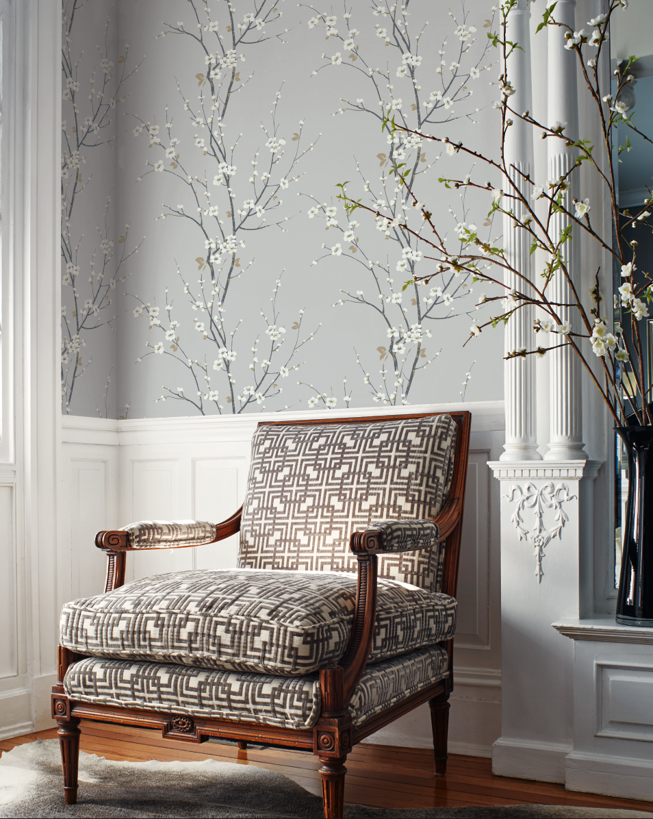 Cherry Blossom Trail wallpaper in light blue from Wallquest\'s ...