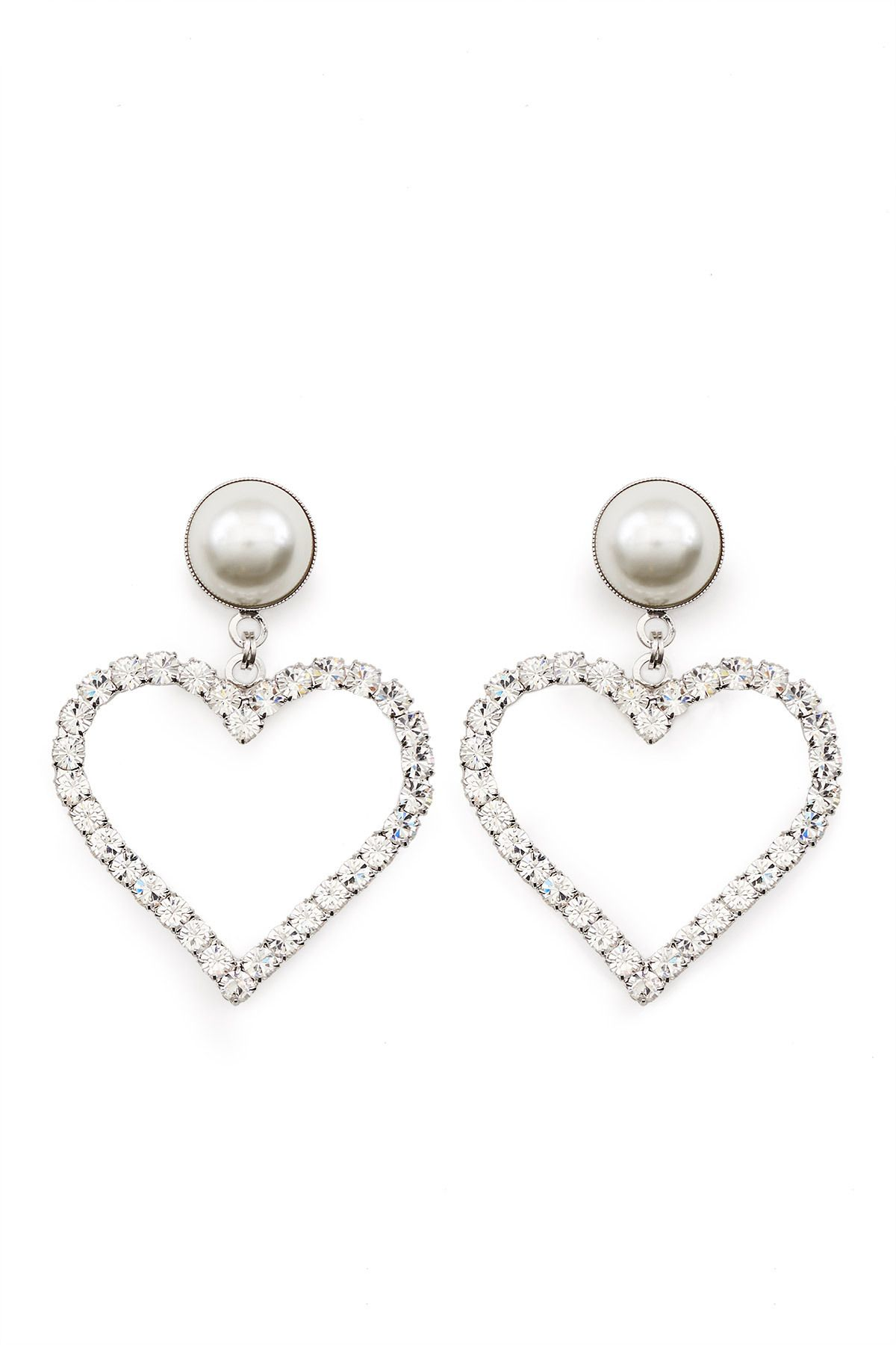 fake pearl Clip-on sparkling crystal earrings silver or gold color