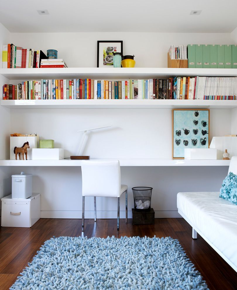 Desk With Shelves Above With Contemporary Home Office And Blue Area Rug Bookshelves Floating S Shelves In Bedroom Contemporary Home Office Wall Shelves Bedroom