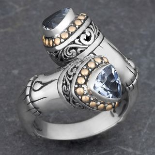 18k Yellow Gold and Sterling Silver Prasiolite Floral Cawi Ring (Indonesia) | Overstock.com Shopping - The Best Deals on Rings