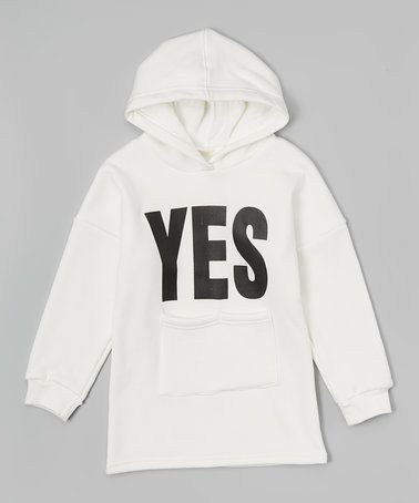 This White 'Yes' Fleece-Lined Pullover Hoodie - Girls is perfect! #zulilyfinds