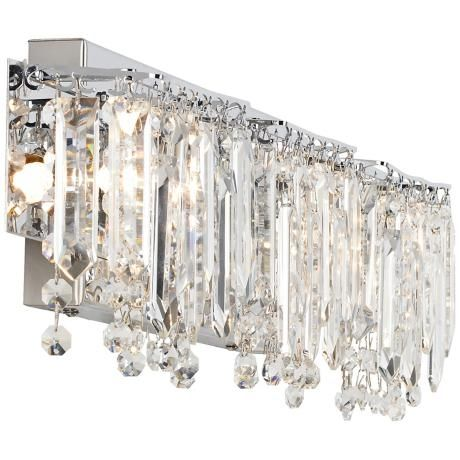 Possini Euro Crystal Strand 25 3 4 Wide Chrome Bath Light