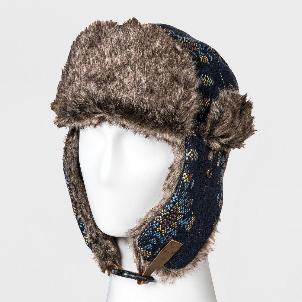 fed6c2c50 Men's Faux Fur Trim Knit Snowflake Trapper Hat - Goodfellow & Co ...