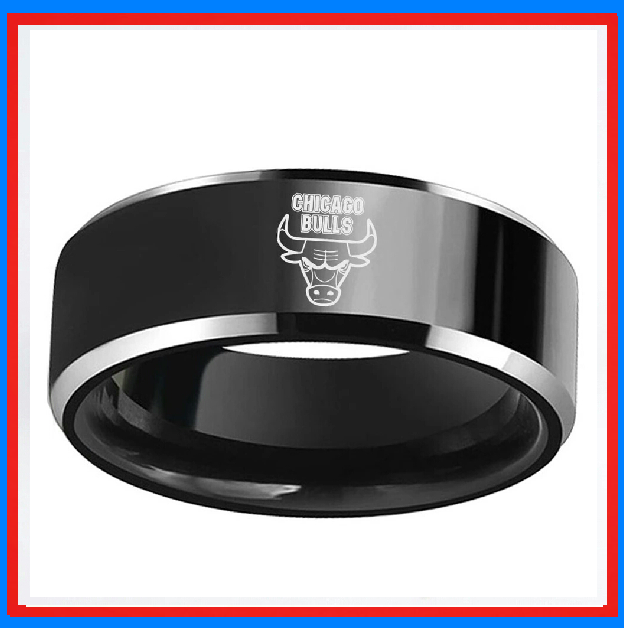Chicago Bulls 8mm Tungsten Wedding Band Ring Black Wedding Rings Tungsten Wedding Bands Tungsten Wedding