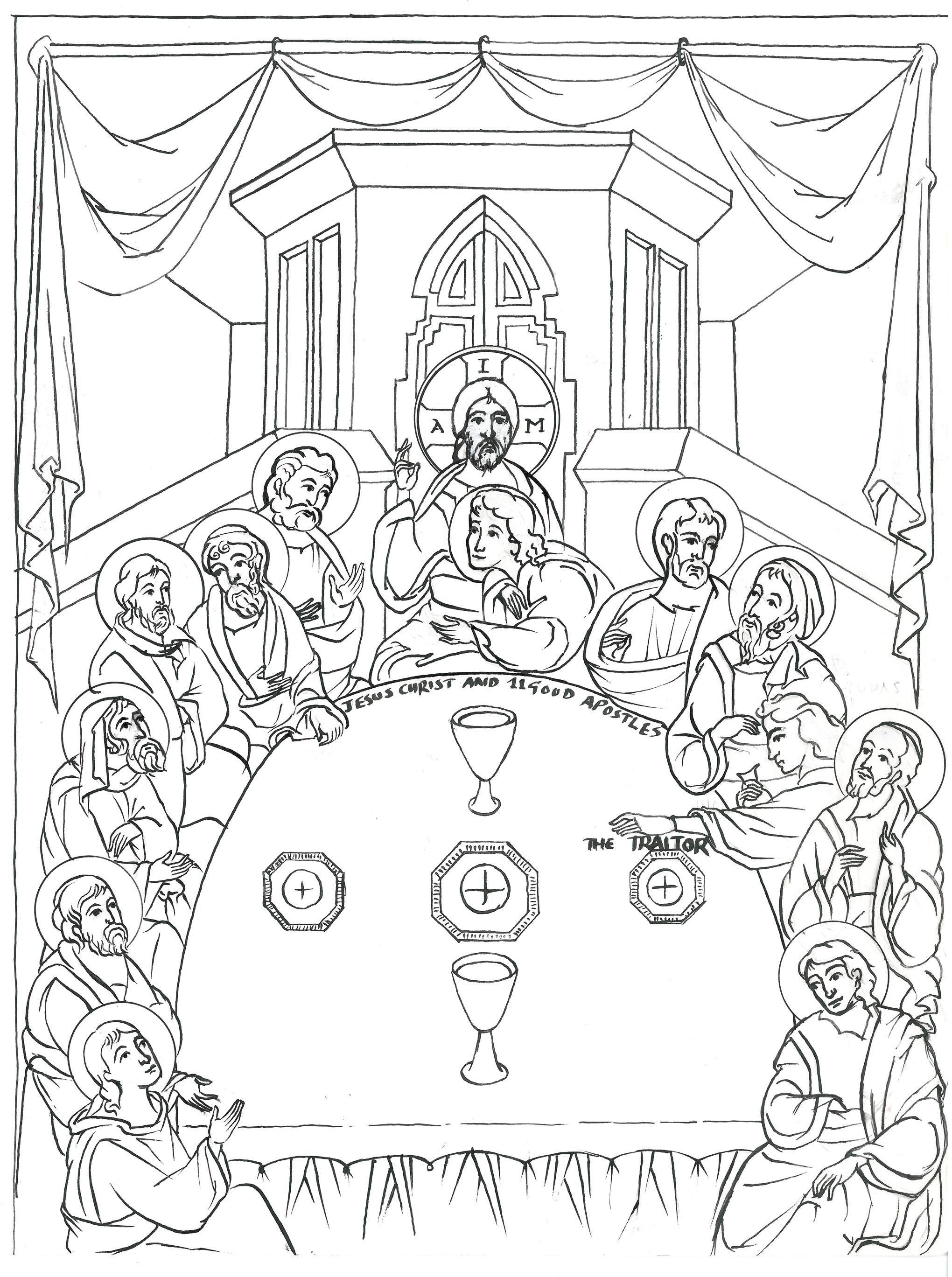 Printable coloring pages last supper - Last Supper Icon Google Search
