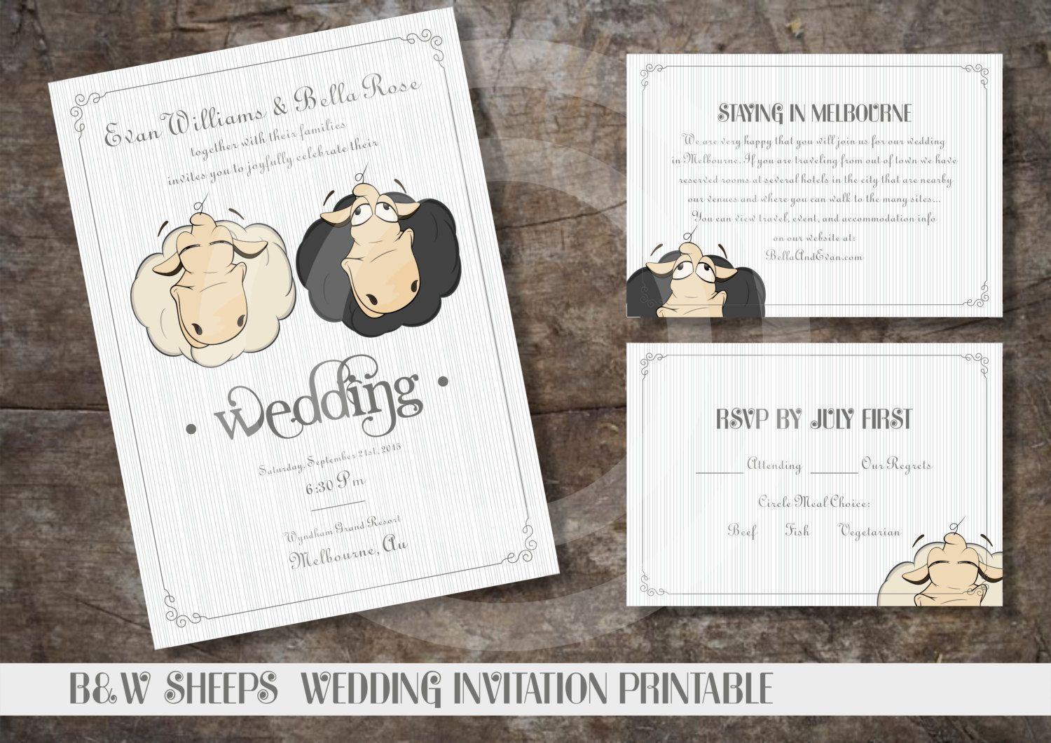 funny wedding invitation rsvp goes viral%0A B u    W SHEEPS WEDDING Invitation Printable   Custom Design Printables   Funny  Wedding Invitation   RSVP and